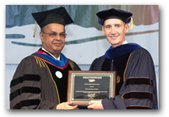 Dr. Majeed received the Daniel B. Stateman award for distinguished alumni from Dr. David Taft at Long Island University's 121st graduation ceremony in Brooklyn, New York on May 14, 2010